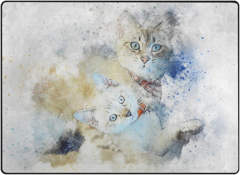 FAJRO Animal Cats Watercolor Painting Rugs for entryway Doormat Area Rug Multipattern Door Mat shoes Scraper Home Dec Anti-Slip Indoor Outdoor