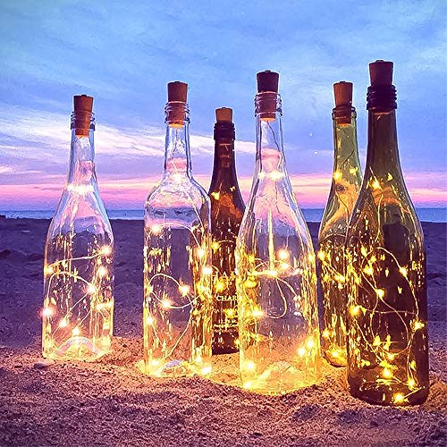 Wine Bottle String Lights with Cork,12Pack 2 Modes Micro Cork Copper Wire Starry Fairy Lights,Battery Operated 20 LEDs Bottle Lightsfor DIY, Party, Christmas, Home Decor (2m/7.2ft Warm White)