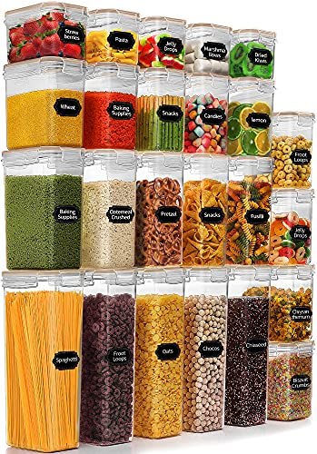 Airtight Food Storage Container Set - 24PCS, BPA Free, PRAKI Kitchen & Pantry Organization and Storage Containers, Plastic Canisters with Durable Lids for Cereal, Flour with Labels & Marker (Khaki)