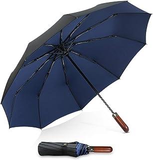 DORRISO Mens Womens Folding Umbrella Automatic Wood-handle Compact Portable Business Golf Umbrella Windproof Travel Unisex Umbrella