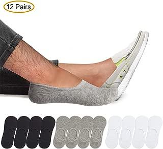 12Pairs No Show Socks Men - Cotton Thin Liner Low Cut Invisible Socks Silicone Non Slip Socks Size M/L