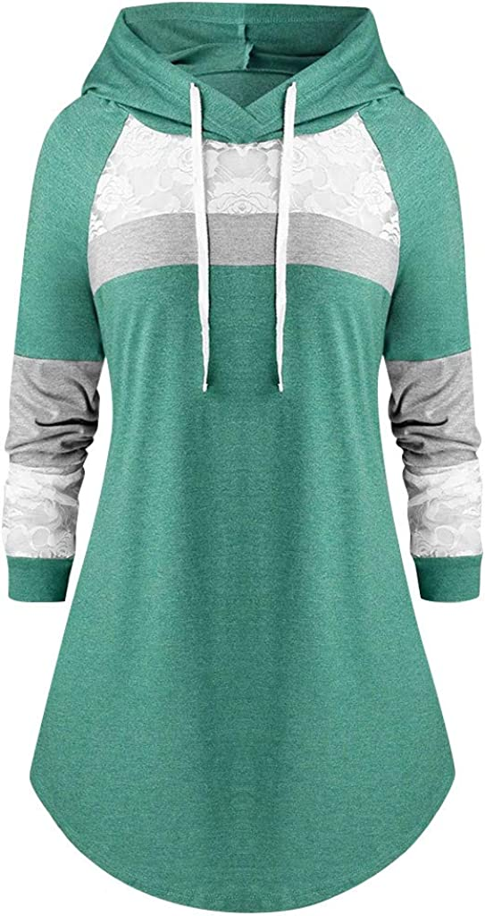 Goddesslili Womens Plus Size Tops Drawstring Lace Patchwork Hoodies Soft Daily Wear Sweatshirt Multi Colors