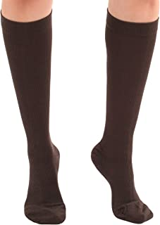 Absolute Support - Made in USA - Cotton Knee Hi Compression Socks 20-30mmHg for Men and Women - Brown, Medium