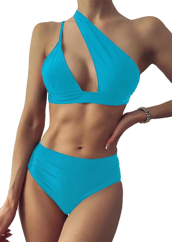 YIMISAN Women's High Waist Bikini Sets One-Shoulder Cutout 2-Piece Swimsuits Padded Bathing Suit