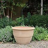 Kreta-Keramik Terracotta Pflanzkübel Blumentopf   40 cm   Pflanzkübel Blumenübertopf   Übertopf winterhart ideal für den Garten, Außen Veronica 40 cm