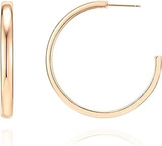 14K Gold Plated Silver Post Wide Flat Edge 40mm Hoop Earrings