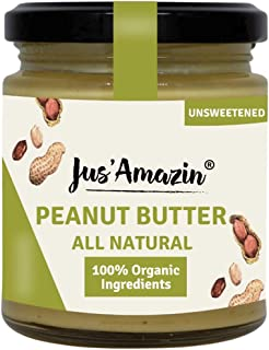 JUS' AMAZIN Organic Peanut Butter All Natural - UNSWEETENED | 100% Organic Ingredients | Vegan (200 g)