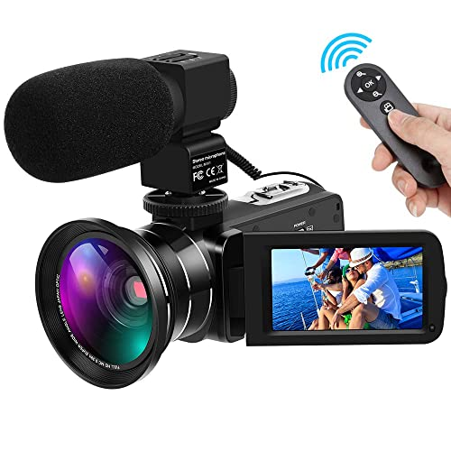 Video Camera Full HD 1080P 30FPS 24MP Digital Camera Camcorders 16X Digital Zoom IR Night Vision Vlogging Camera with External Microphone and Wide Angle Lens