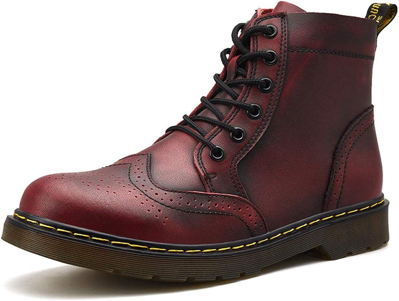Men's Winter Martin Boots Leather Plus Velvet Warm Tooling Cotton Boots