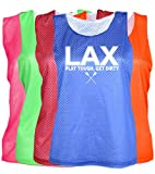 JANT girl Lacrosse Mesh Pinnie -LAX Play Tough Get Dirty Logo (Neon Pink, S/M)
