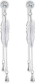 SA SILVERAGE Sterling Silver Feather Threader Drop Dangle Earrings