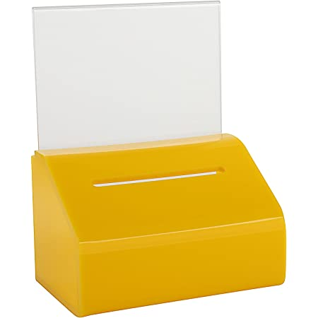 Black with Safety Lock and Display Sign Holder 8x 6x 5 MCB Acrylic Donation /& Ballot Box Ticket Raffles /& Drawing Voting or Comment Box