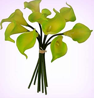 Inna-Wholesale Art Crafts New Green Calla Lily Bouquet Real Touch Hand Tied Silk Decorating Flowers Centerpieces - Perfect for Any Wedding, Special Occasion or Home Office D?cor