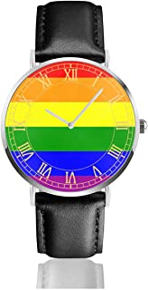Womens Watch The Gay Pride Rainbow Flag Customized Classic Stainless Steel Quartz Wrist Watches with Replaceable Leather Band