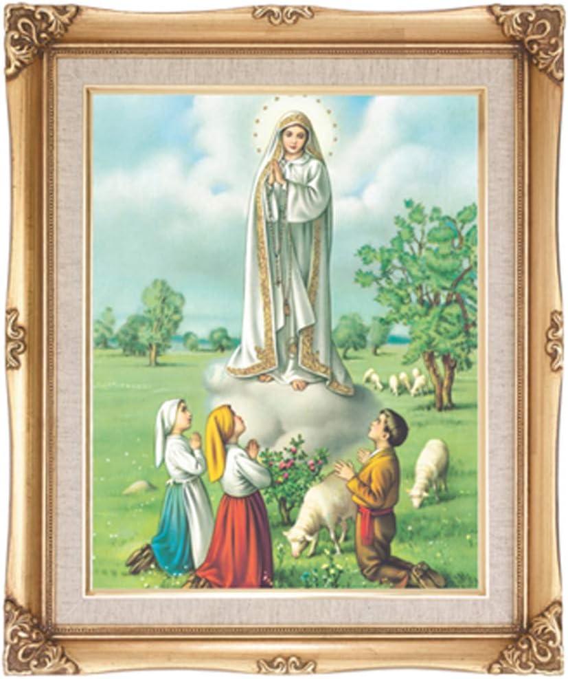 激安通販専門店 Our 大人気! Lady of Fatima Framed Wall Print Antique Wood Portrait Gold
