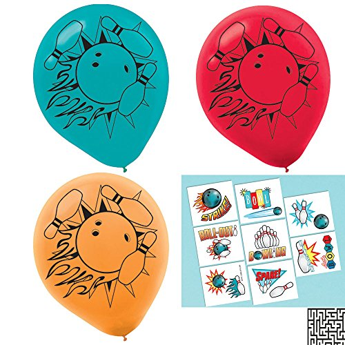6 ct. Bowling Latex Balloons and 16 ct. Bowling Tattoo Favors, Party Favor Bundle - Includes 1 Maze Game Activity Card by ClassicVariety