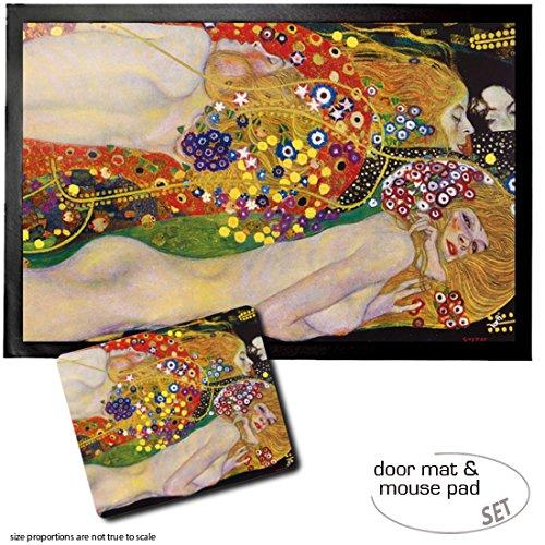 1art1 Gustav Klimt, Serpientes De Agua II, 1904-1907 Felpudo Alfombra (60x40 cm) + Alfombrilla para Ratón (23x19 cm) Set Regalo