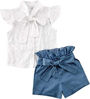 Babeleven Toddler Girls Short Outfits Ruffle Feather Shirt Short Pants 2pcs Clothes Sunsuit Summer