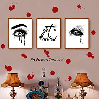 """Halloween Blood Eye Woman Lip Get Naked Quotes Canvas Art Prints, Set of 3 (8""""X10""""), No Frame + Bloody Sticker Horror Red Vinyl Decal for Window Home Decor"""