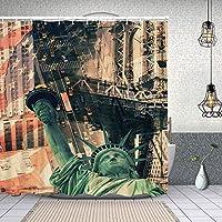 シャワーカーテンニューヨーク市のストリートシーナリー自由の女神と米国旗の自由のトーチのイラスト 防水 目隠し 速乾 高級 ポリエステル生地 遮像 浴室 バスカーテン お風呂カーテン 間仕切りリング付のシャワーカーテン 180 x 180cm