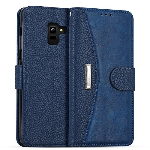 LOKAKA Leder Handyhülle für Samsung Galaxy A6 Plus 2018, Handyhülle Handystand Kartenfächern Luxuriöse Aussehen Leder Flip Cover Brieftasche Etui Schutzhülle für Samsung Galaxy A6 Plus 2018 - Blau