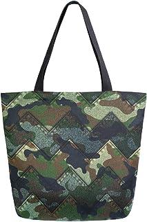 Mnsruu Mnsruu Wiederverwendbare Einkaufstasche aus Segeltuch, Camouflage-Denim-Reisetasche, College-Büchertasche für Frauen und Mädchen