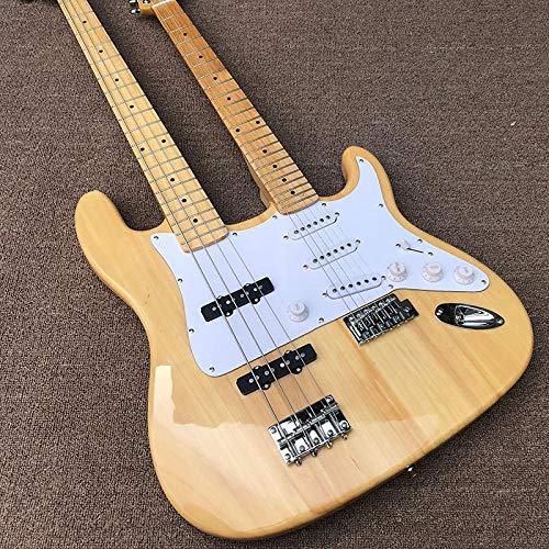 MLKJSYBA Guitarra Guitarra Eléctrica De Doble Cabeza 6 Cuerdas Guitarra + 4 Cuerdas Bajo Acero Acústico Cuerda Guitarras Guitarras acústicas (Color : Guitar, Size : 41 Inches)