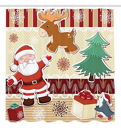 GAOFENFFR Set Di Decorazioni Natalizie Con Babbo Natale Con Renna E Pinguino, Giocattolo, Pupazzo Di Neve Per La Cameretta Dei Bambini, Con Tenda Da Doccia