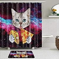 MIMUTI シャワーカーテン バスマット 2点セット かわいい猫が宇宙でピザとタコスを持っています 自家 寮用 ホテル 間仕切り 浴室 バスルーム 風呂カーテン 足ふきマット 遮光 防水 おしゃれ 12個リング付き