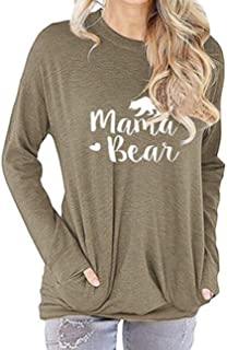 Sexyshine Women's Casual Long Sleeve Tunic Pullover Sweatshirt Loose T-Shirt Blouses Tops with Pockets