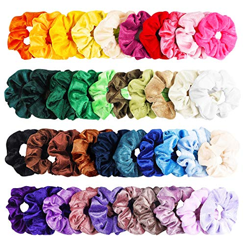 WATINC 40Pcs Colorful Velvet Hair Scrunchies, Strong Hold Bobbles Velvet Hair Ties, Solid Color Elastics Bands Velvet Ponytail Holder, Traceless Velvet Hair Ring, Hair Rope Accessory for Women Girl