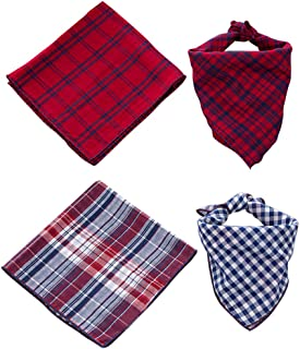 SCENEREAL Plaid Dog Bandana Scarf Pack - Triangle Bibs Reversible Kerchief Accessories for Small to Large Dogs