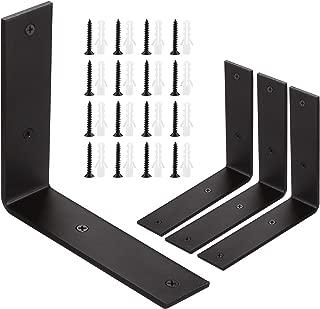 4 Pack Heavy Duty Black Metal Shelf Brackets 6x6 inch, STARVAST Wall Mounting L Angle Bracket, Rustic Industrial Floating Shelf Brackets 5mm Thick Countertop Support Bracket - Includes Screws