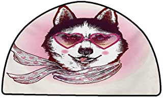 Carpet for Living Room Cartoon,Hipster Husky Dog with Hearts Sunglasses and Scarf Fashion Animal Art Print,Pink Cream Black,W30 x L18 Half Round All Weather mats