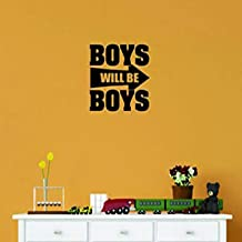 "Design with Vinyl Moti 1441 2 Boys Will Be Boys Kids Teen Bedroom Playroom Sign Peel & Stick Wall Sticker Decal, 16"" x 16"", Black"