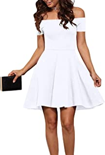 EZBELLE Womens Off The Shoulder Short Sleeve Cocktail Skater Dress