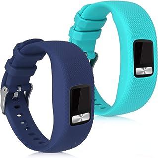 kwmobile Pulsera Compatible con Garmin Vivofit 4 Talla S - Brazalete de Silicona en Azul Oscuro/Turquesa sin Tracker