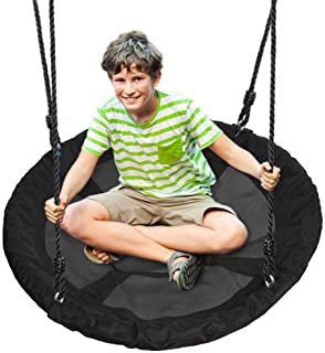 Outdoor Spinner Saucer Tree Swing - Hanging Tree Round Circular Flying Saucer in Rope Straps w/Cushion Padded Metal Frame, Polyester Fabric Seat, Great for Kids, Adult - SereneLife SLSWNG100 (Black)
