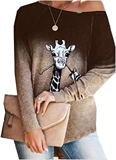 Comaba Women Blouse Crew-Neck Ombre Long Sleeve Floral Printed Tees Top