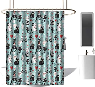 TimBeve Colorful Shower Curtain Cat Lover,Black and White Cats in Love Meow Print Among Hearts Daydreaming Kitties Cat Ears,Multicolor,Decorative Bathroom Curtain 72