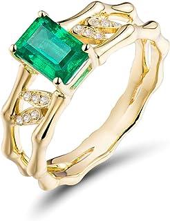 Daesar Anello in Oro Giallo 18K, Anelli Donna Fidanzamento Rettangolo Smeraldo 1.05ct e Bambù con Diamante 0.05ct Anelli N...