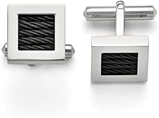 Lex & Lu Chisel Stainless Steel Polished Black Plated Wire Cuff Links