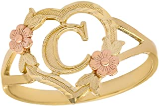CaliRoseJewelry 10k Gold Initial Alphabet Personalized Heart Ring - Letter C