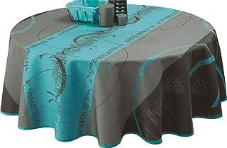 Le linge de Jules Nappe Anti-Taches Astrid Turquoise - Taille : Ovale 150x240 cm