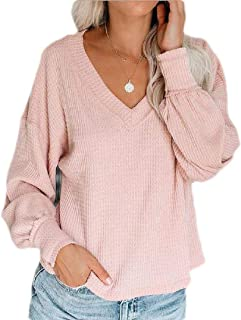 CRYYU Women Long Sleeve Loose Fit Casual V-Neck Blouse T-Shirt Tops