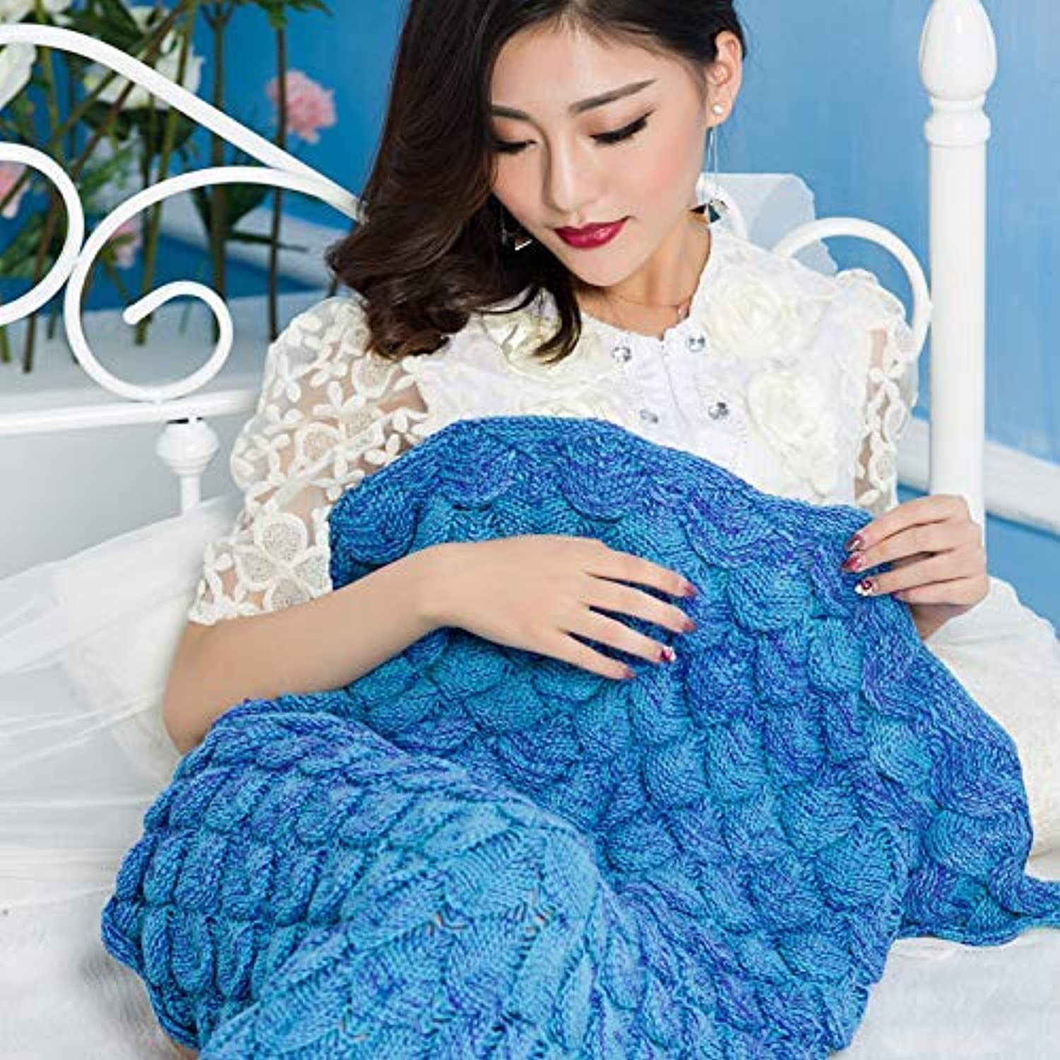 JINGB Home Mermaid Knitted Mermaid Tail, bluee, 180  90CM (71  35.4 inch) (color   The bluee, Size   140  70CM)