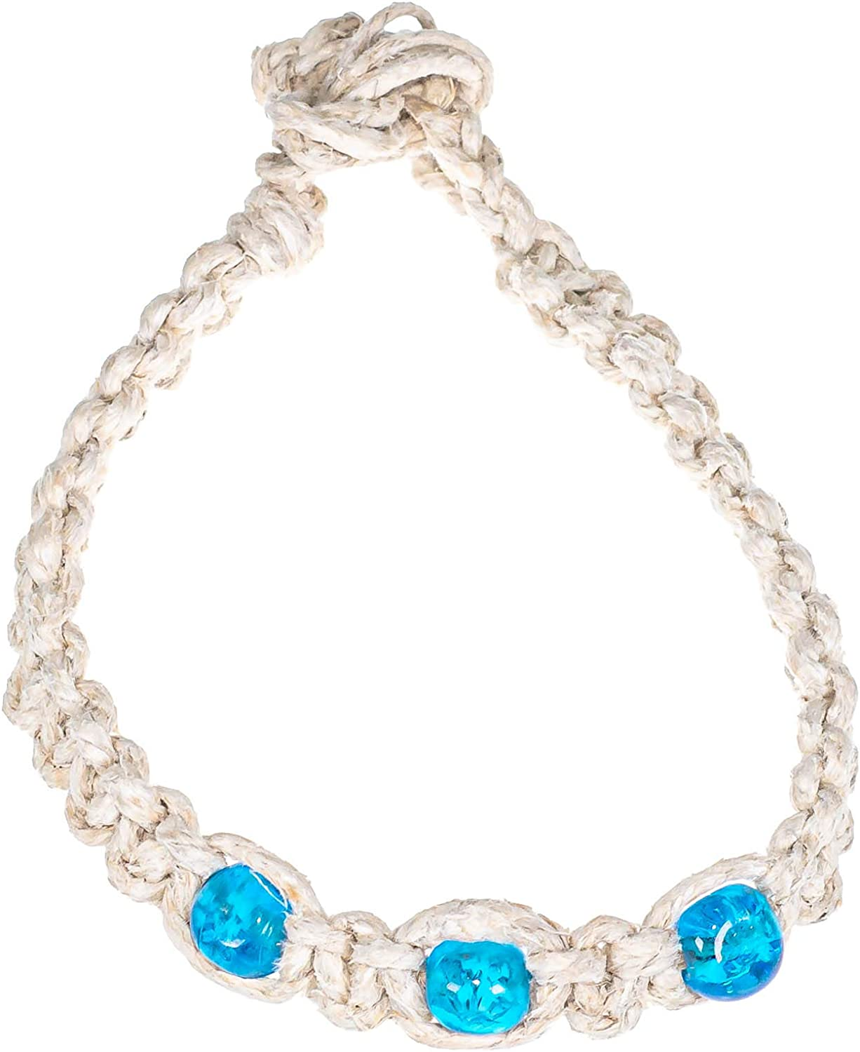 BlueRica Extra Large Hemp Necklace with Three Accent Beads