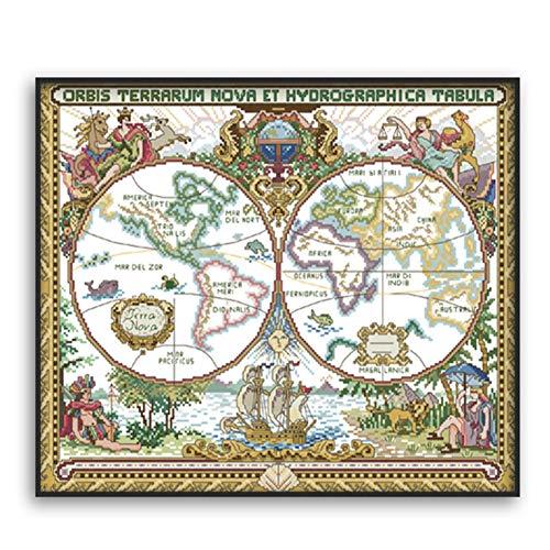 Proumhang Kits de Punto de cruz Bordado de Bricolaje 14 CT Aida Impreso 51x42cm: Mapa del Mundo