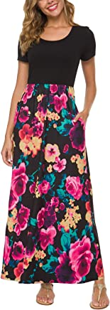 423ce8d132 Zattcas Women's Floral Maxi Dress 3/4 Sleeve Casual Long Printed Maxi  Dresses with Pockets