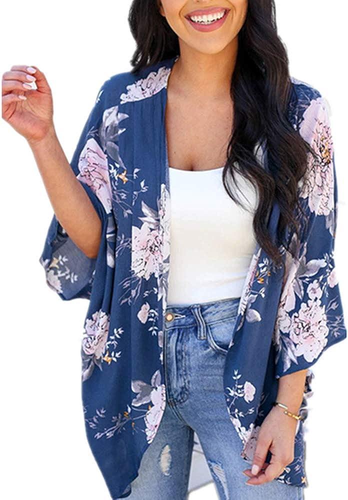 Womens Floral Kimono Cardigans Summer Chiffon Sheer Beach Cover Ups Loose Casual Shrug Tops